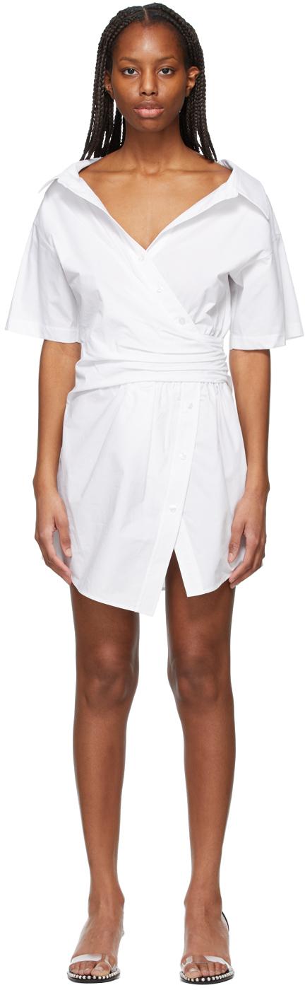 White Gathered Button-Down Dress