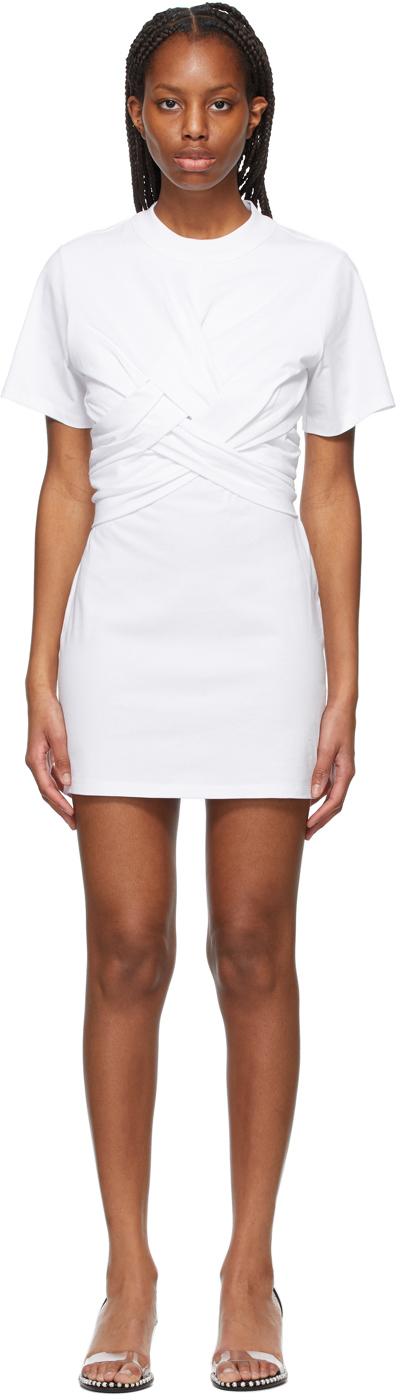 White Cross Draped T-Shirt Dress