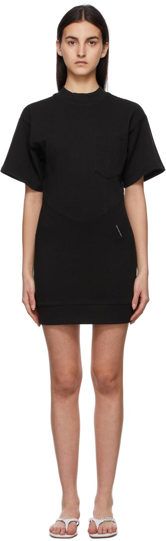 Black Sculpted Pocket Dress