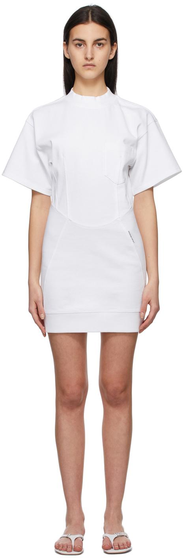 White Sculpted Pocket Dress