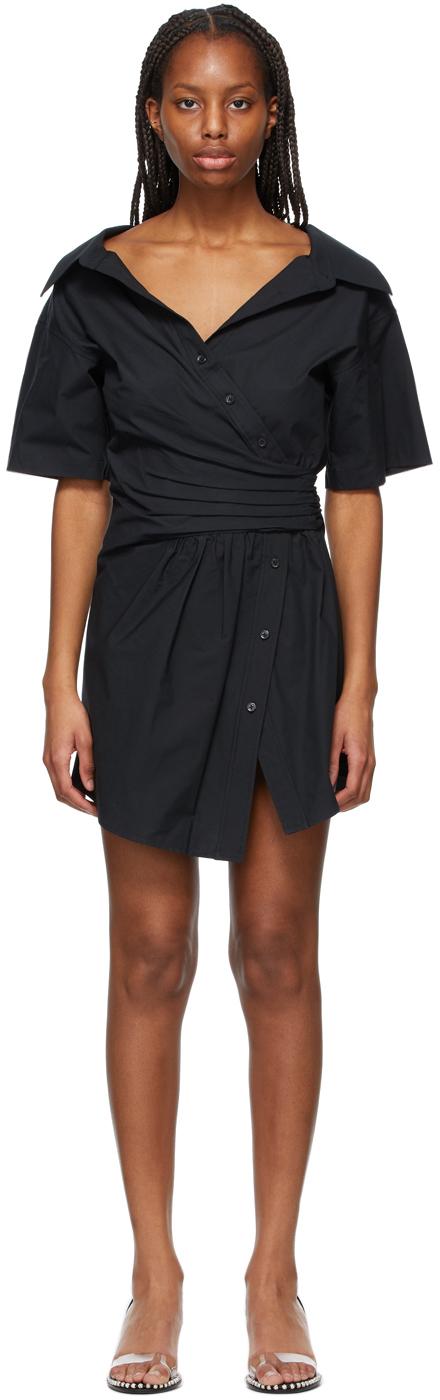 Black Gathered Button-Down Dress