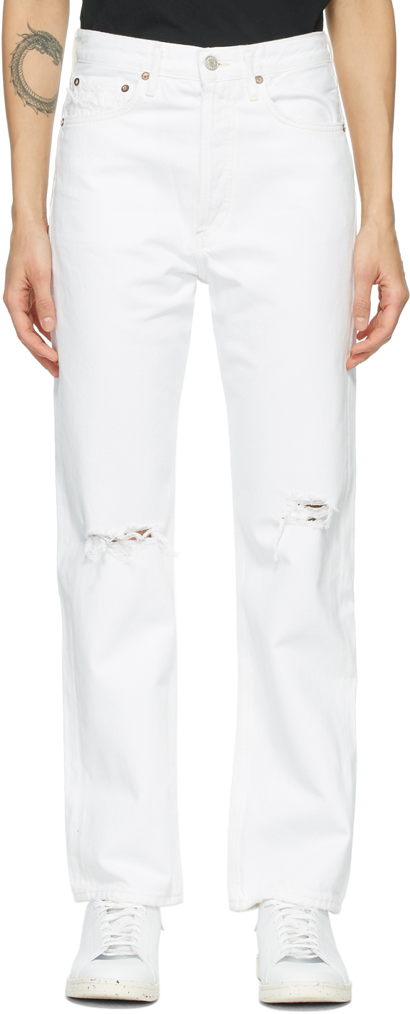AGOLDE White 90s Mid-Rise Loose-Fit Jeans