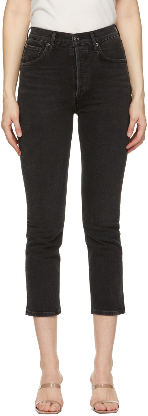 Black Riley High-Rise Straight Crop Jeans