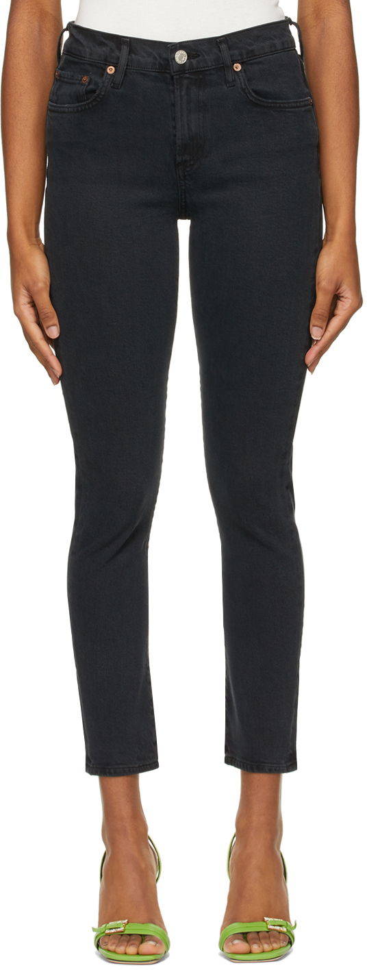 AGOLDE Black Toni Mid-Rise Straight Jeans