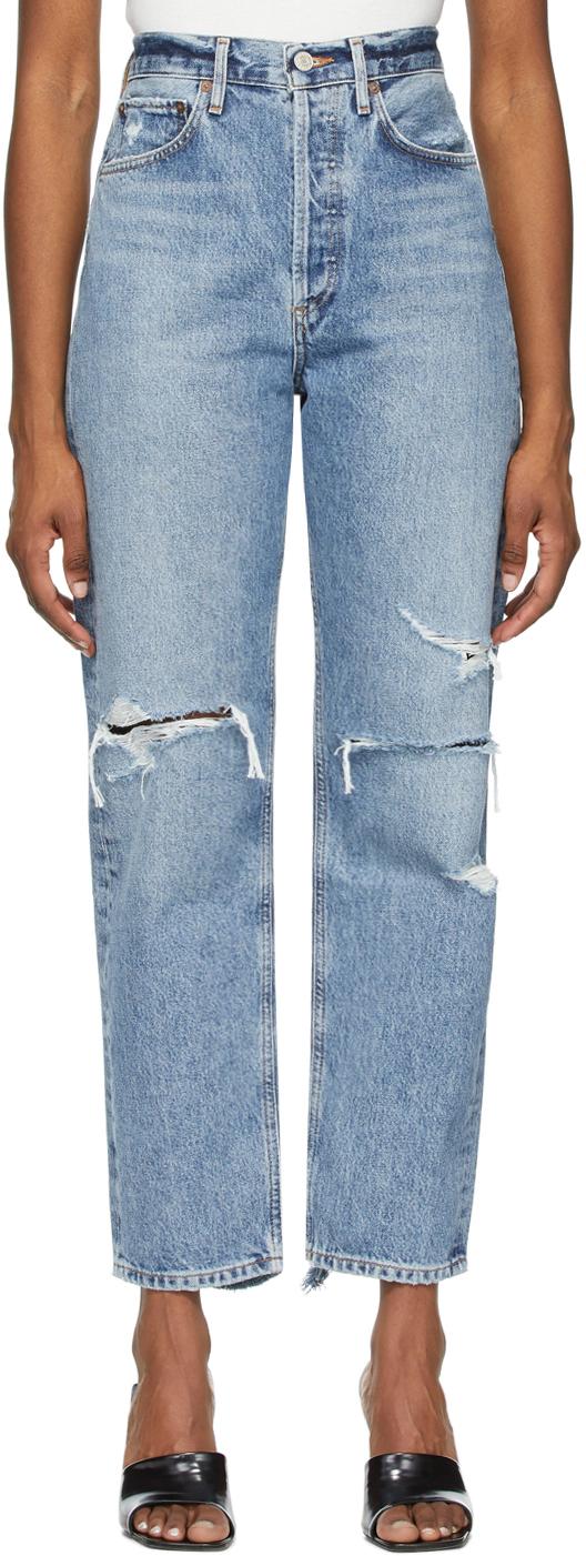 AGOLDE 蓝色 90s Mid-Rise Loose Fit 做旧有机棉牛仔裤