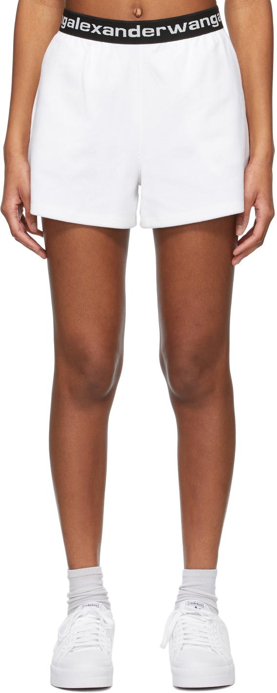 White Stretch Corduroy Shorts