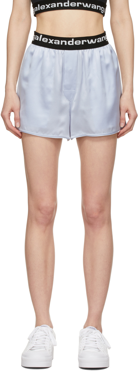 alexanderwang.t 蓝色弹性徽标真丝短裤