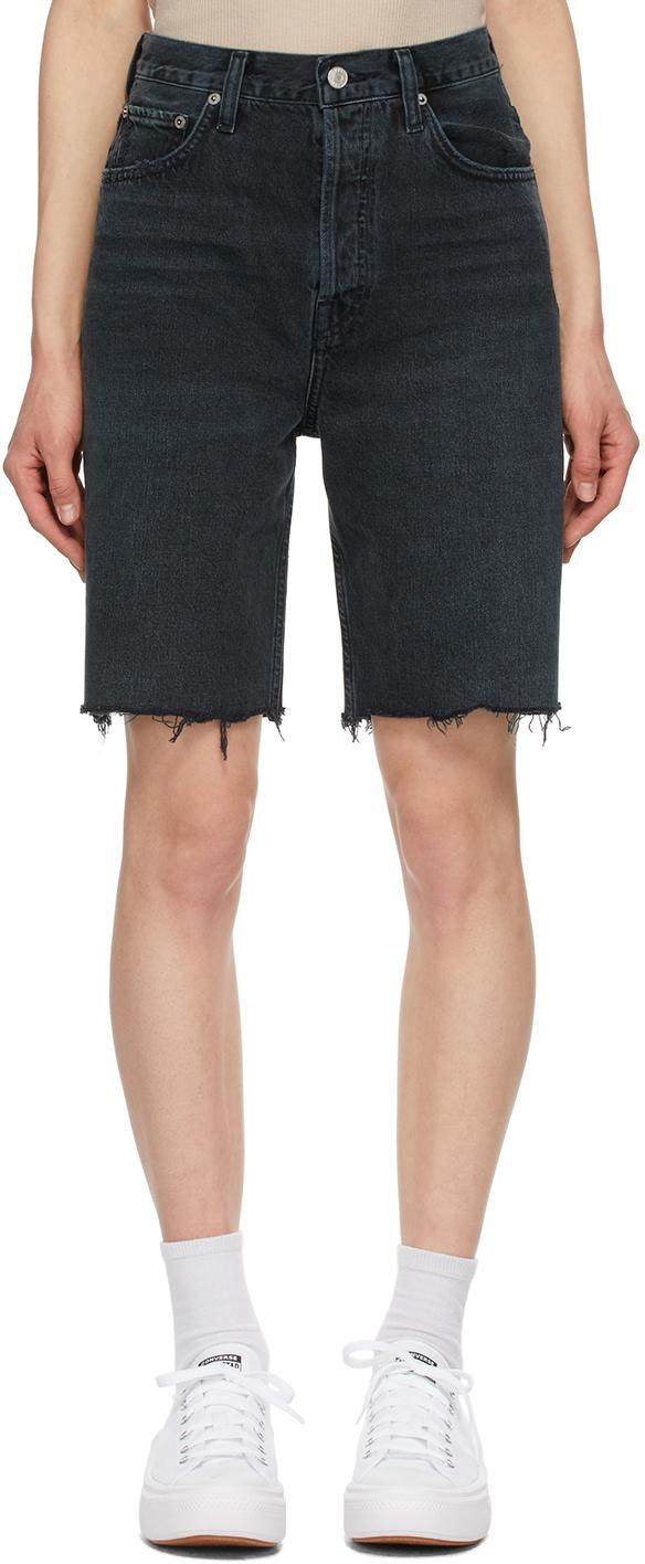 Black 90's Pinch Waist Straight Leg Shorts