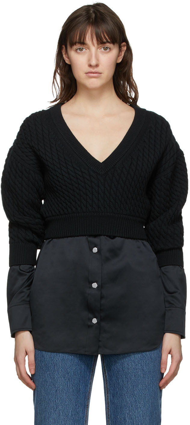 Black Cable Knit Bi-Layer Sweater