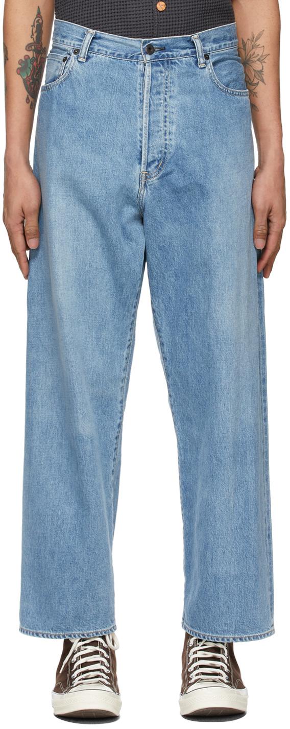 Blue Crossed Denim Jeans