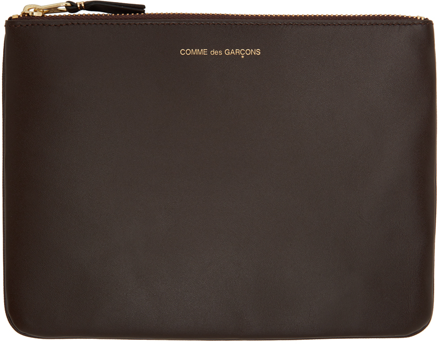 Brown Large Classic Line Zip Pouch