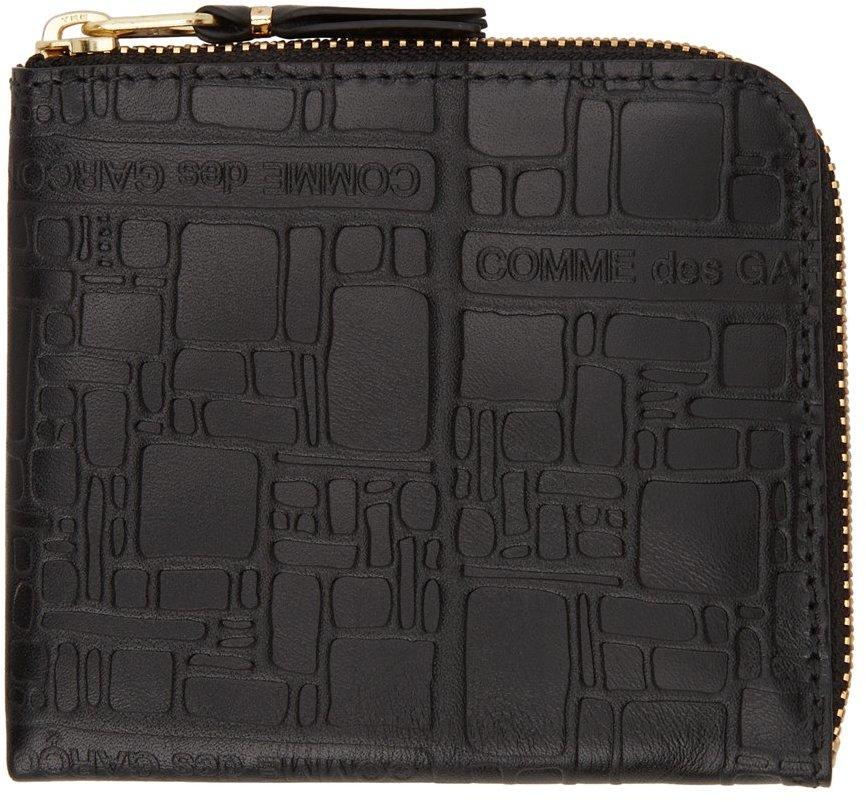 Black Embossed Logo Zip Wallet