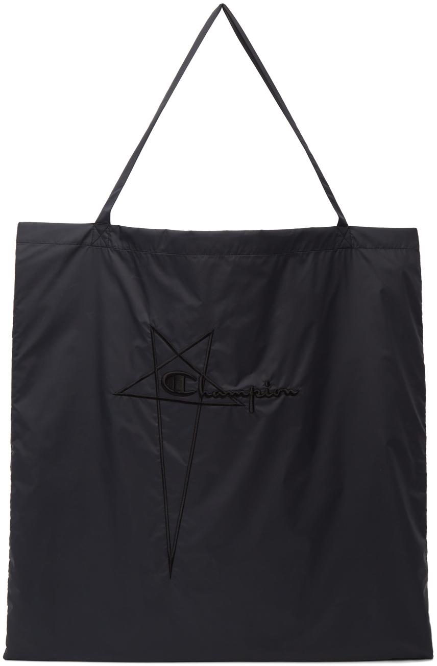 Black Champion Edition Nylon Jumbo Shopper Tote Bag