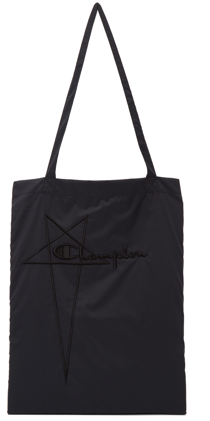 Black Champion Edition Nylon Shopper Tote Bag