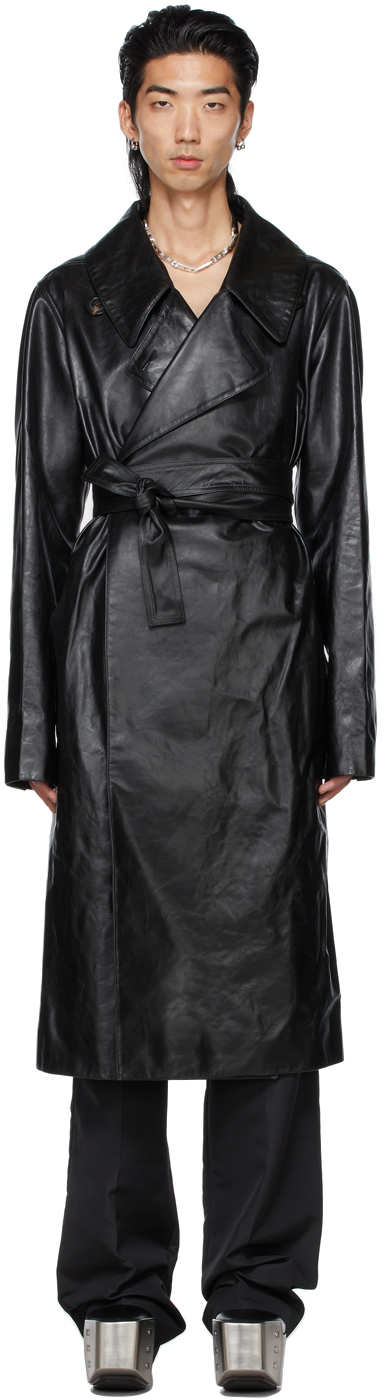 Rick Owens Black Leather Performa Trench Coat In 09 Black