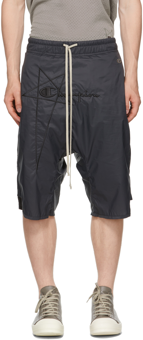 Rick Owens Black Champion Edition Nylon Swingers Shorts In 09 Black