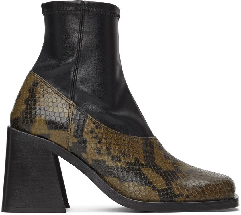 Khaki & Black Python Eve Boots