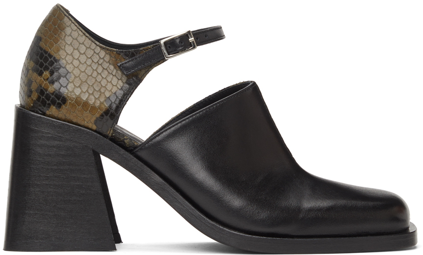 Black & Khaki Python Kate Heels