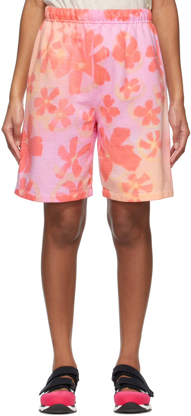 SSENSE Exclusive Pink Flower Patch Shorts