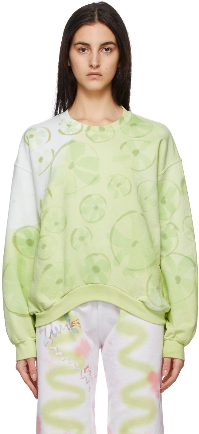 SSENSE Exclusive Green Flower Patch Round Hem Sweatshirt