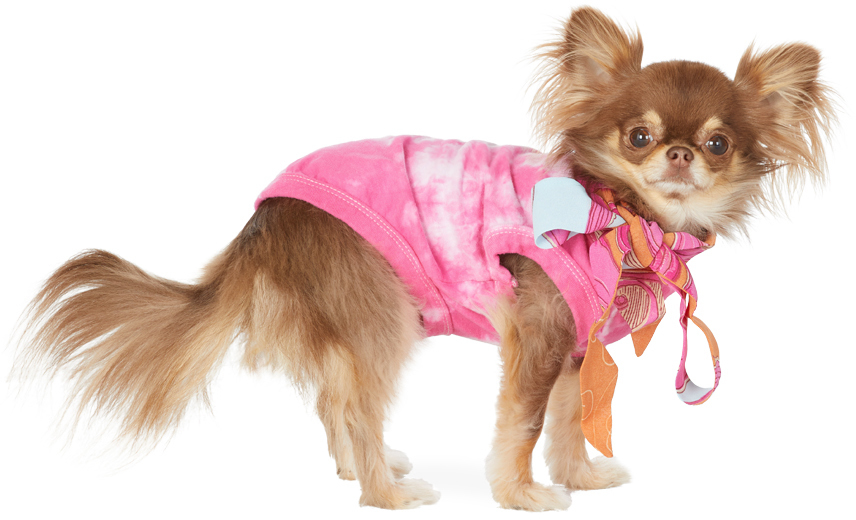 SSENSE Exclusive Pink & Off-White Tie-Dye Bow T-Shirt