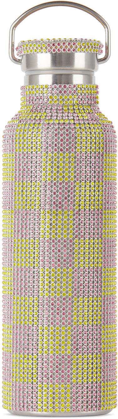 Pink & Yellow Check Rhinestone Water Bottle