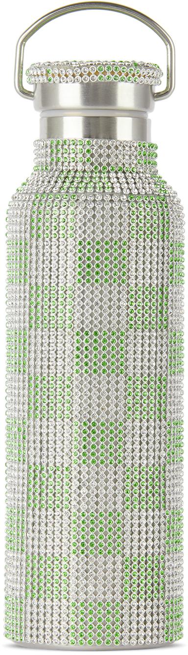 Green & White Check Rhinestone Water Bottle