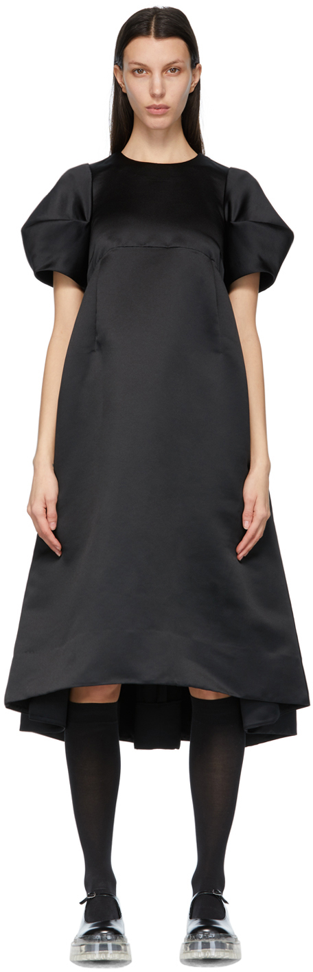 Black Satin Puff Sleeve Dress