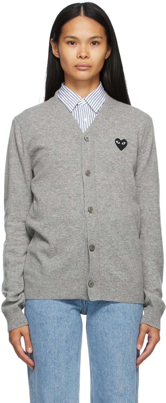 Grey & Black Heart Patch V-Neck Cardigan