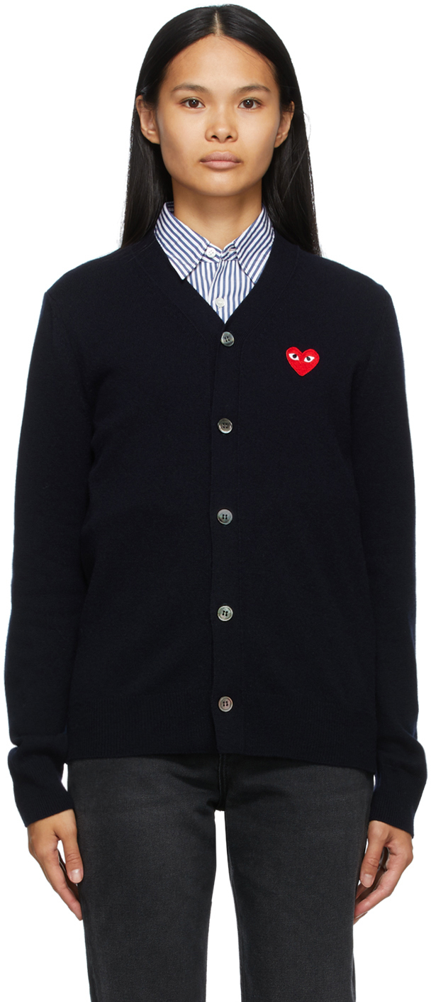 Navy Wool Heart Patch V-Neck Cardigan