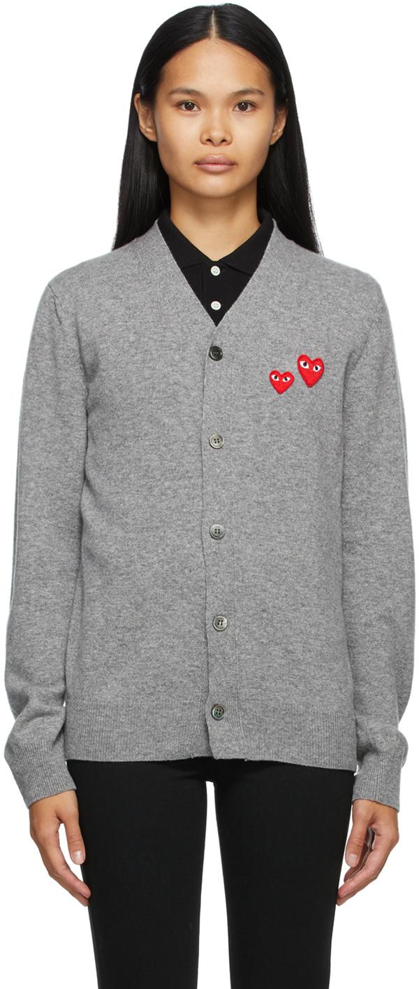 Grey Wool Asymmetric Double Heart V-Neck Cardigan