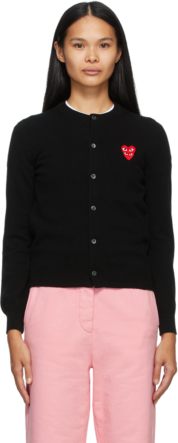 Black Wool Layered Double Heart Cardigan