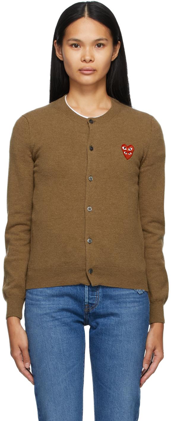 Brown Wool Layered Double Heart Cardigan