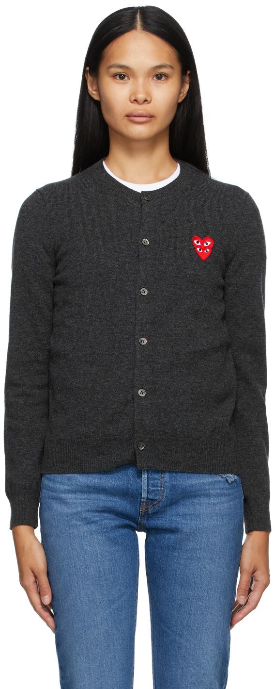Grey Wool Layered Double Heart Cardigan
