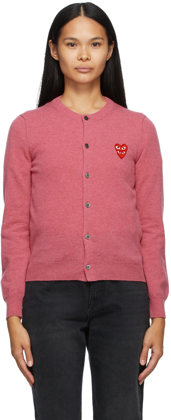 Pink Wool Layered Double Heart Cardigan