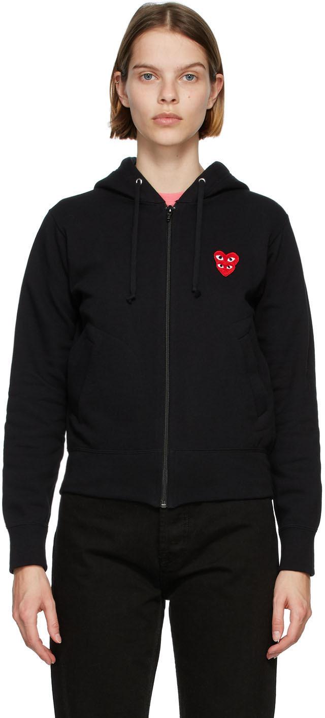 Black Layered Heart Zip-Up Hoodie