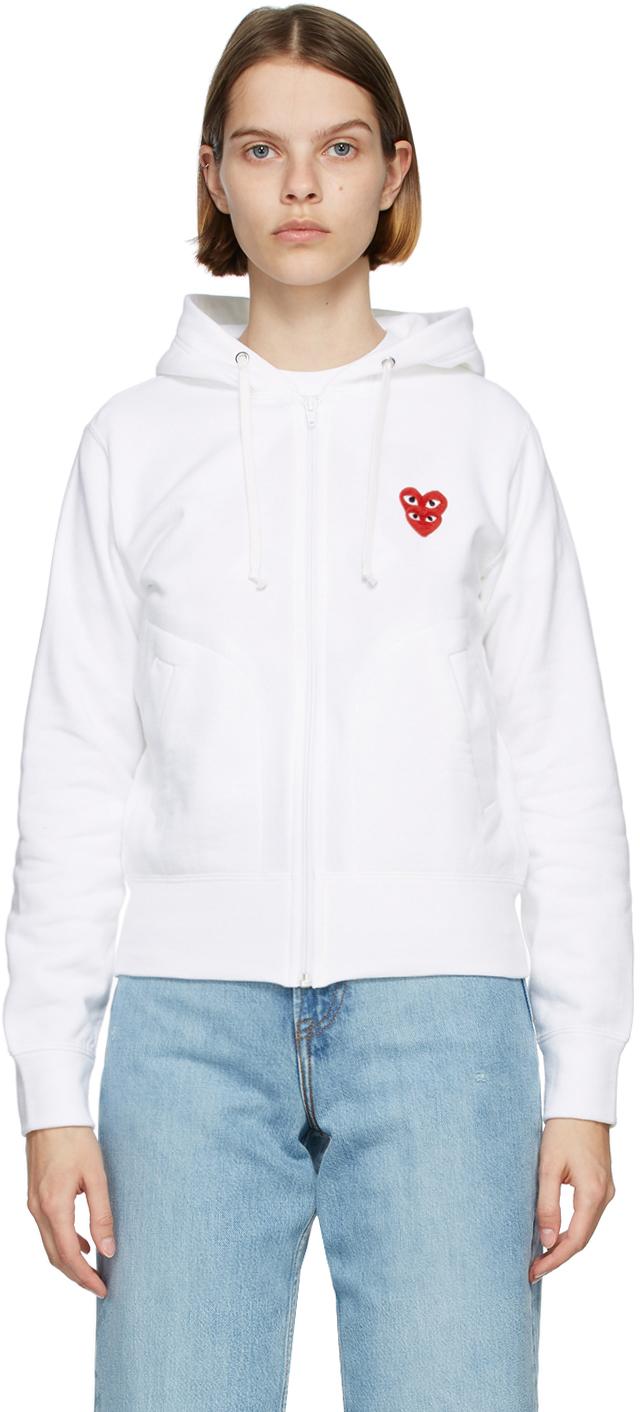 White Layered Heart Zip-Up Hoodie