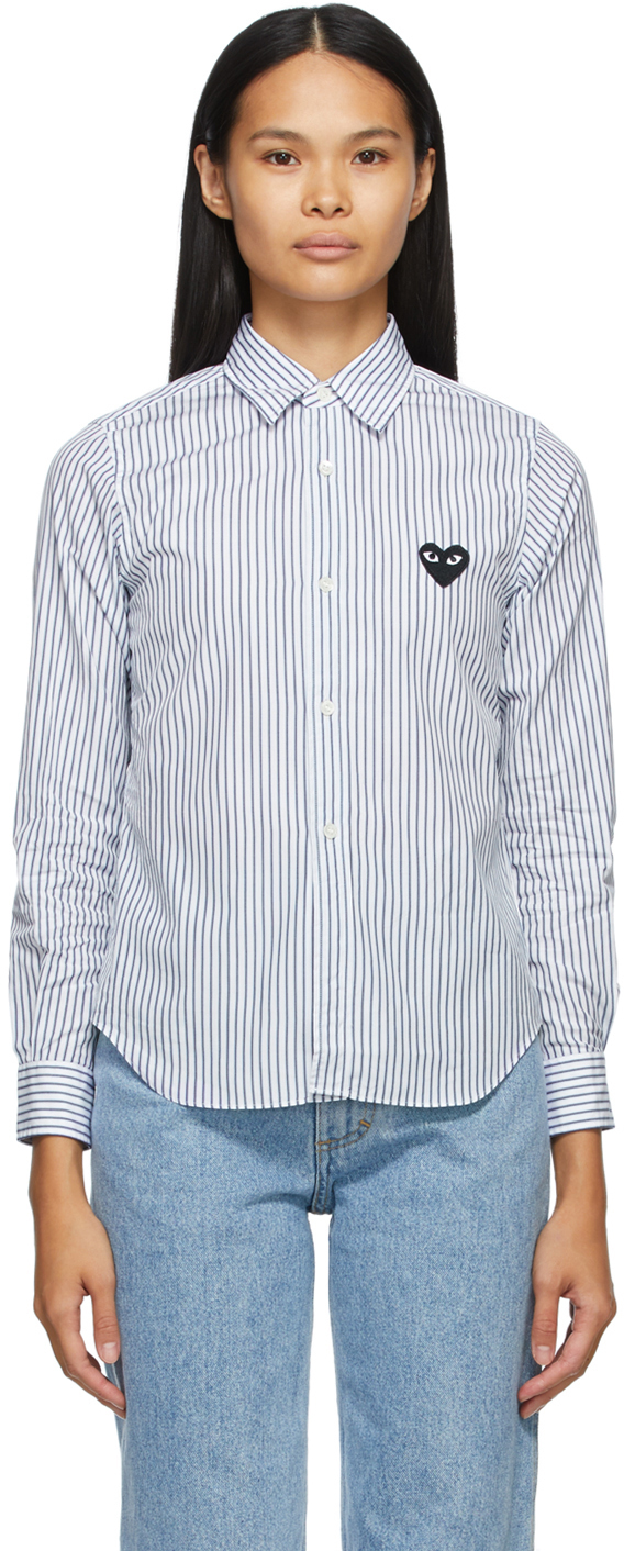 White & Blue Striped Heart Patch Shirt
