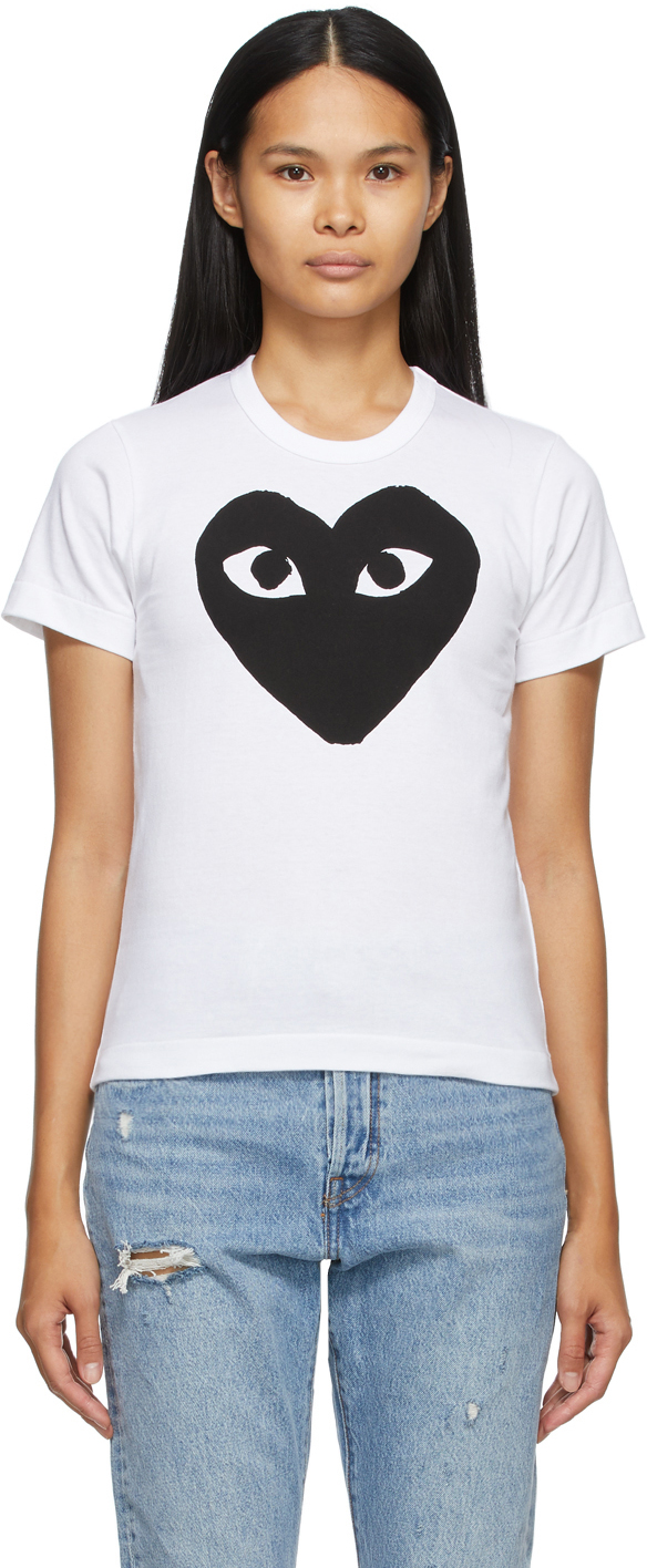 White & Black Large Heart T-Shirt
