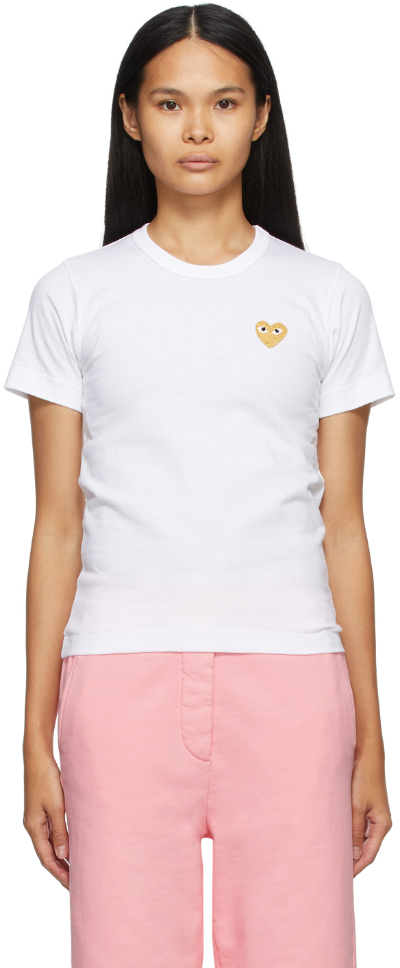 White & Gold Heart Patch T-Shirt