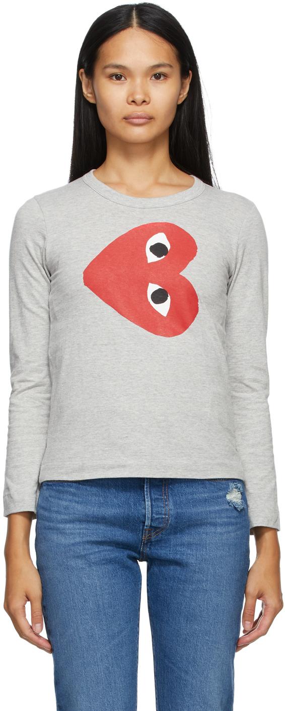 Grey Horizontal Heart Long Sleeve T-Shirt
