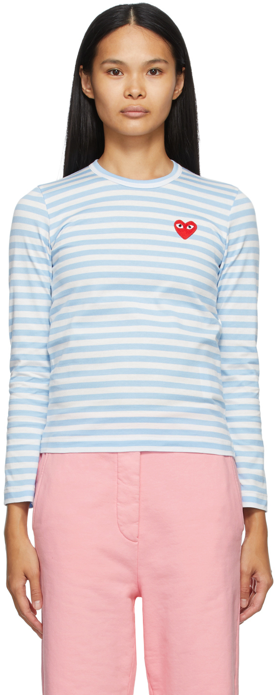 Blue & White Striped Heart Patch Long Sleeve T-Shirt