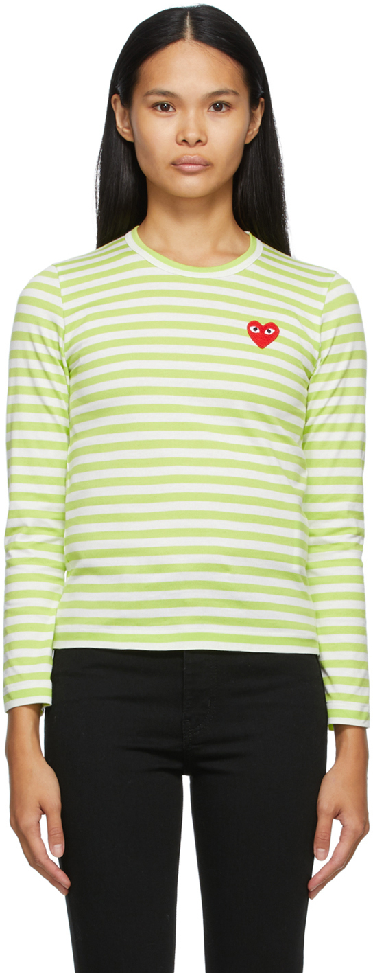 Green & White Striped Heart Patch Long Sleeve T-Shirt