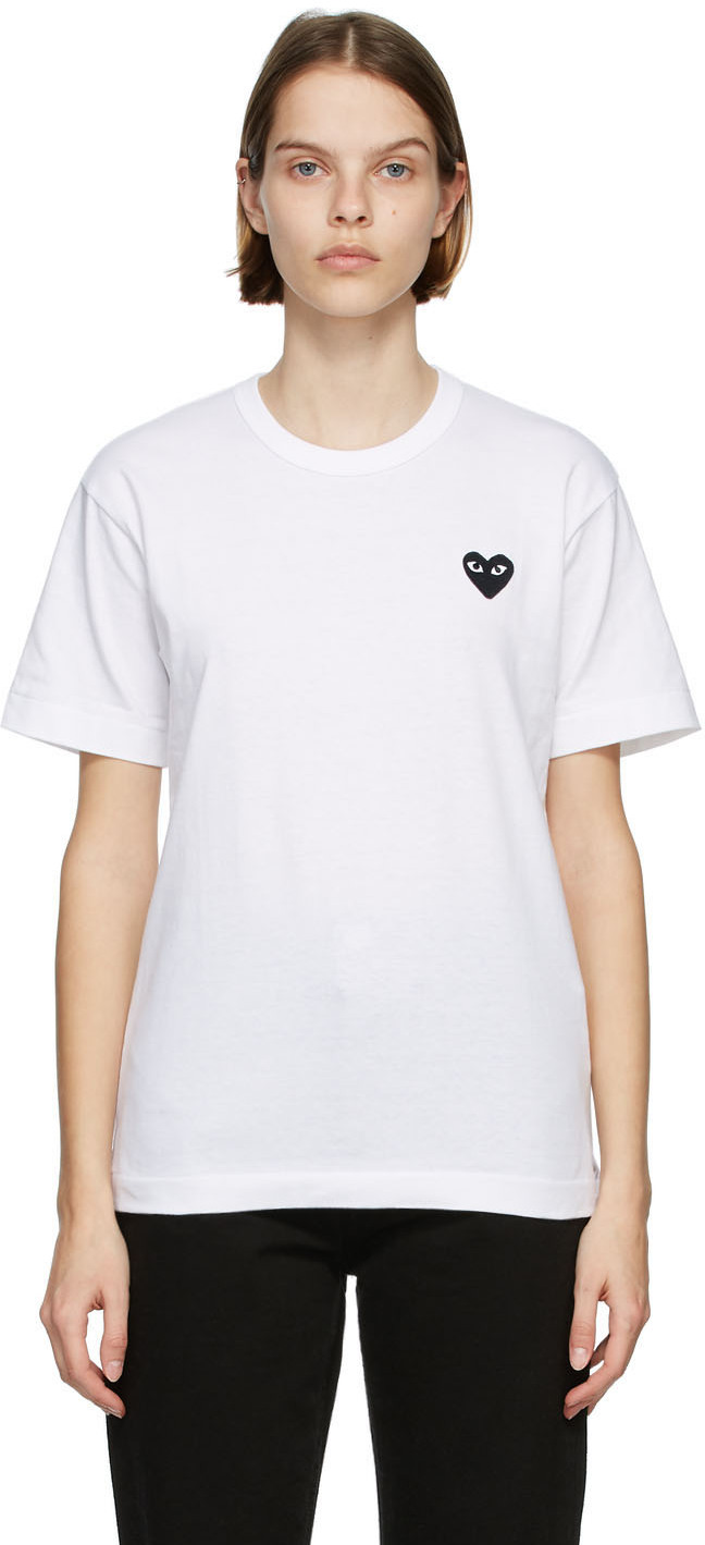 White & Black Heart Patch T-Shirt