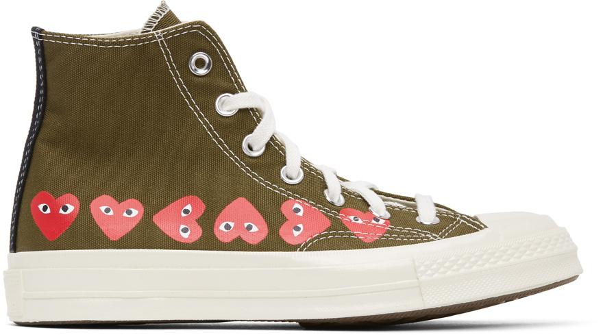 Khaki Converse Edition Multiple Hearts Chuck 70 High Sneakers