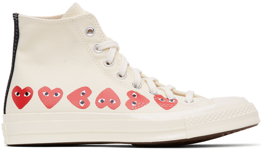 Off-White Converse Edition Multiple Hearts Chuck 70 High Sneakers