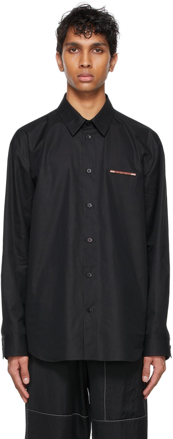 Black Poplin Pin Shirt