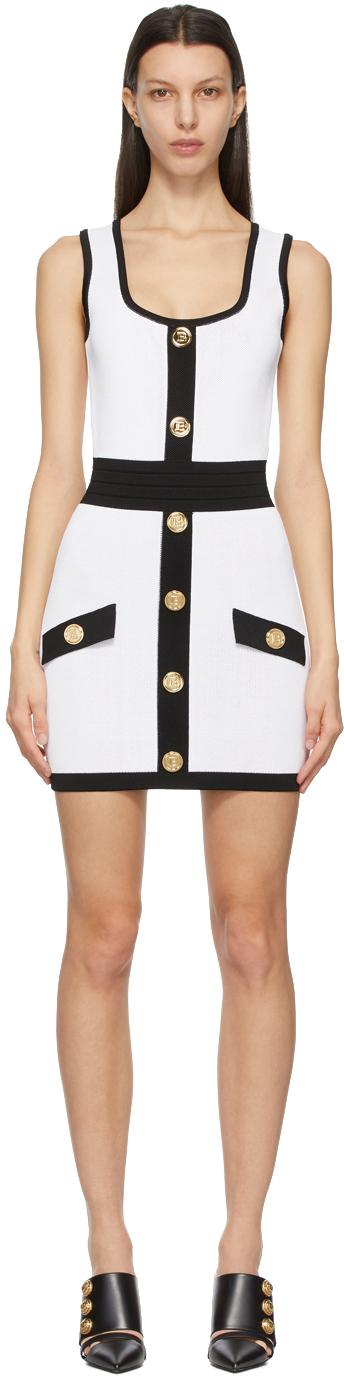 White & Black Knit Short Dress