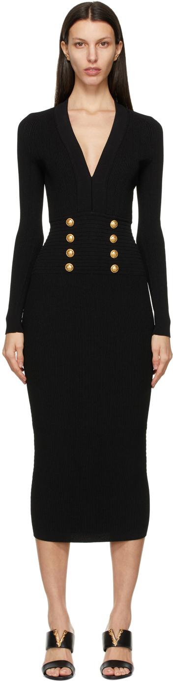 Black V-Neck 8-Button Dress