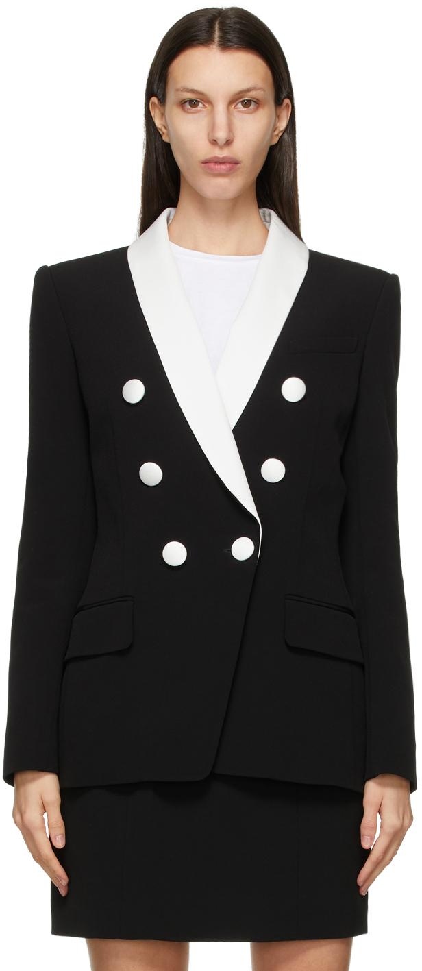 Black & White Double-Breasted Blazer